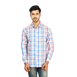 Ottoman Fashions White And Blue Checked Slim Fit Casual Shirt