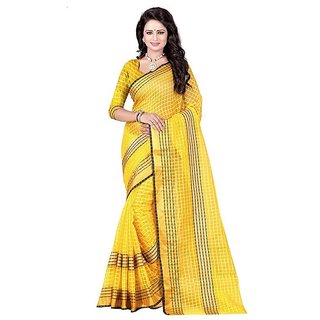 Rite Creation Mart Yellow Color Poly Cotton Printed Saree -BO291_S_YellowPC-229