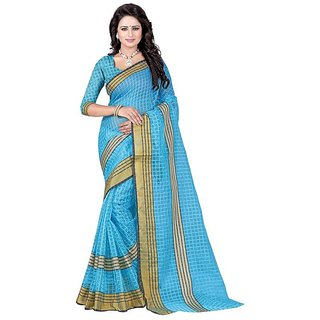 Rite Creation Mart Light Blue Color Poly Cotton Printed Saree -BO294_S_Light BluePC-232