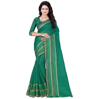 Rite Creation Mart Green Color Poly Cotton Printed Saree -BO295_S_GreenPC-233