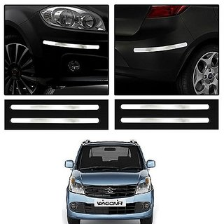 Trigcars Maruti Suzuki Wagon R 2012 Car Chrome Bumper Scratch Potection Guard