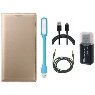 Redmi Note 4 Flip Cover with Memory Card Reader, USB LED Light, USB Cable and AUX Cable