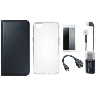 Oppo A71 Leather Cover with Memory Card Reader, Silicon Back Cover, Tempered Glass, Earphones and OTG Cable