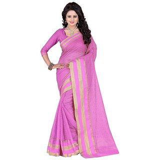 Rite Creation Mart Pink Color Poly Cotton Printed Saree -BO287SPinkPC-222