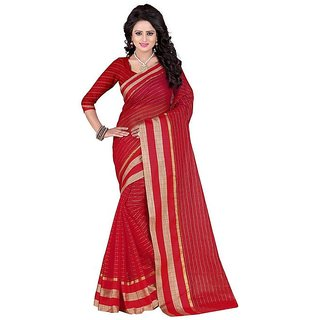 Rite Creation Mart Red Color Poly Cotton Printed Saree -BO288SRedPC-223