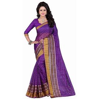 Rite Creation Mart Purple Color Poly Cotton Printed Saree -BO290SPurplePC-225