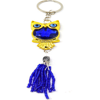 Faynci Lucky Golden Plated Owl Car Rearview Mirror Hanging Ornament/Interior Wall Hanging Showpiece for Good Luck/Gifting