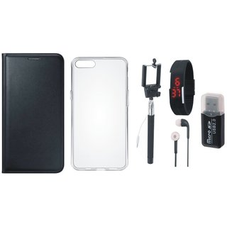 Oppo F5 Stylish Cover with Memory Card Reader, Silicon Back Cover, Selfie Stick, Digtal Watch, Earphones and OTG Cable