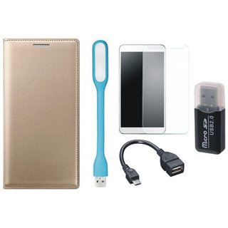 Oppo F5 Leather Flip Cover with Kick Stand with Memory Card Reader, Tempered Glass, USB LED Light and OTG Cable