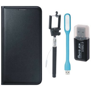 Oppo A71 Flip Cover with Memory Card Reader, Selfie Stick and USB LED Light