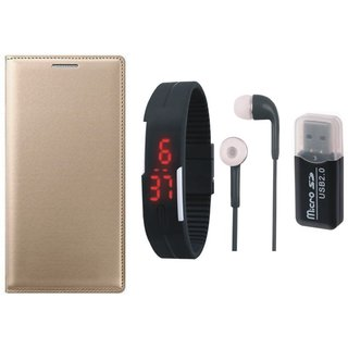 Oppo F5 Leather Flip Cover with Kick Stand with Memory Card Reader, Digital Watch and Earphones
