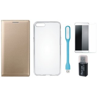 Oppo F5 Leather Flip Cover with Kick Stand with Memory Card Reader, Silicon Back Cover, Tempered Glas and USB LED Light