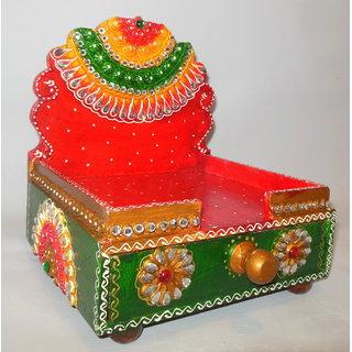 Beautiful Wooden Pooja Singhasan Multicolor