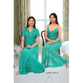 157D Sheer Sleep Wear 2pc Nighty   Over Coat Transparent Green Babydoll  Dress at Best Prices - Shopclues Online Shopping Store 7de93a430