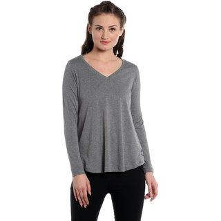 Cult Fiction Grey Plain V-Neck Casual Tshirts
