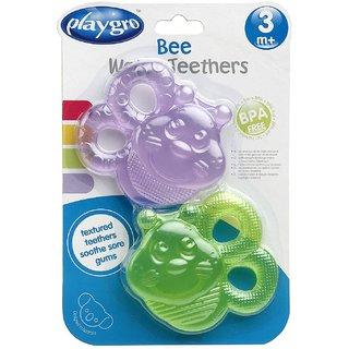 Playgro Water Teether Bee 2 Pack Purple Green