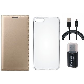 Oppo A71 Premium Leather Cover with Memory Card Reader, Silicon Back Cover, USB Cable