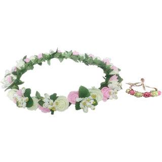 Loops N Knots Tiara  Wristband/Puff Wrap Combo Set For Girls  Women
