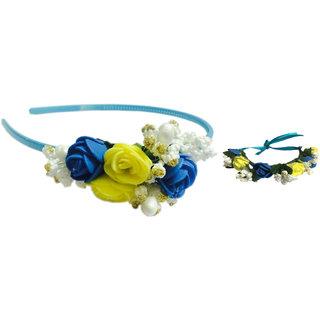 Loops N Knots Tiara & Wristband/Puff Wrap Combo Set For Girls & Women