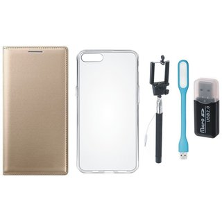 Oppo A71 Premium Leather Cover with Memory Card Reader, Silicon Back Cover, Selfie Stick and USB LED Light