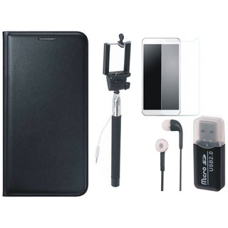 Oppo A71 Leather Flip Cover with Kick Stand with Memory Card Reader, Free Selfie Stick, Tempered Glass and Earphones