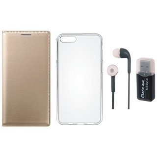 Oppo F5 Leather Cover with Memory Card Reader, Silicon Back Cover and Earphones