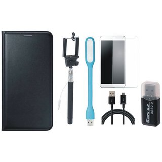 Oppo A71 Leather Flip Cover with Kick Stand with Memory Card Reader, Free Selfie Stick, Tempered Glass, LED Light and USB Cable