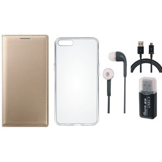 Oppo F5 Leather Cover with Memory Card Reader, Silicon Back Cover, Earphones and USB Cable