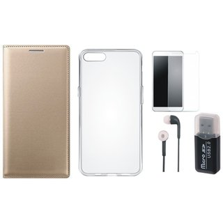 Oppo F5 Leather Cover with Memory Card Reader, Silicon Back Cover, Earphones and Tempered Glass