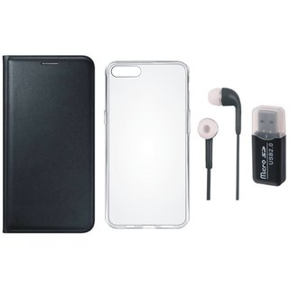 Oppo A71 Leather Flip Cover with Kick Stand with Memory Card Reader, Silicon Back Cover and Earphones
