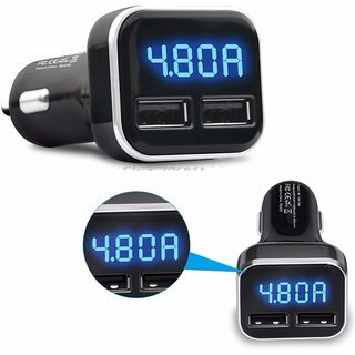 KCOPS Dual USB Car Charger Output DC 5V 4.8A (2.4A+2.4A) LED Display Volt Amp Meter For All Smart Phone and Tablets Uni
