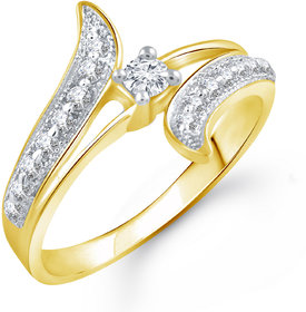 Vighnaharta Glowing Shine (CZ) Gold and Rhodium Plated Alloy Ring for Women and Girls
