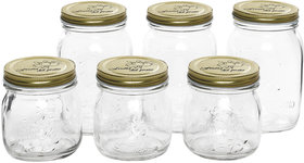 Preserve Glass Mason Jar for Canning / Storing with Airtight Gold Metal Lid- 6 Piece, (500 ml 3 Piece  300 ml 3 Piece)