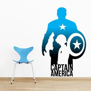 Wall Sticker Captain America Design (Cover Area :- 21 X 33 inch)