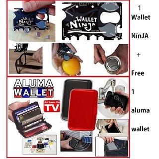 Multipurpose 18 in 1 Credit Card Sized Wallet Pocket Tool + Aluma Aluminum Wallet CODEIb 5751