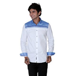 Mercury Men's White Shirt with a Blue Panel