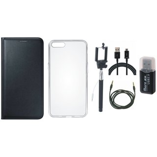 Oppo F5 Flip Cover with Memory Card Reader, Silicon Back Cover, Selfie Stick, USB Cable and AUX Cable