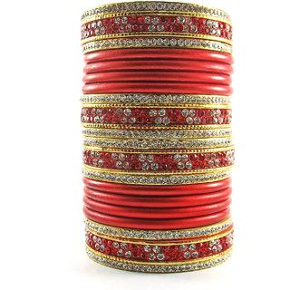Sukriti Bridal Red Lac Chura Bangles for Women -Set of 20