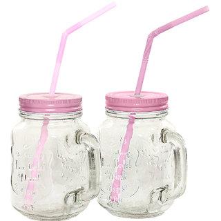 Glass Mason Mug 450 ml Pink Lid Pk 2