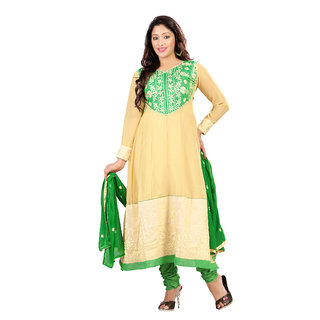 Florence Green Chiffon Embroidered Dress Material (SB-2203) (Unstitched)