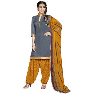 Florence Grey Rani Prints - Patiyala-8 Poly Cotton Embroidered Dress Material (SB-2409) (Unstitched)