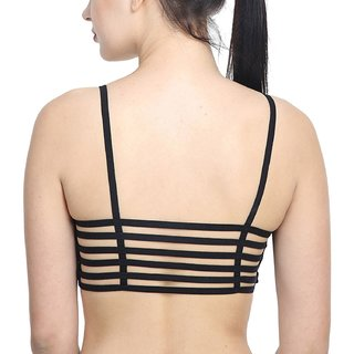 13037edb79 Shoppy Villa Enterprise Black Color 6 Straps Padded Bralette Bra (removable  pads)(Size FREE)