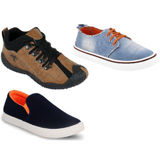 Chevit Men's Trio COMBO Pack Of 3 Running Shoes With  Sneakers