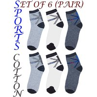 Novelty Sports Cotton Ankle Socks (Pack of 6 Pairs)