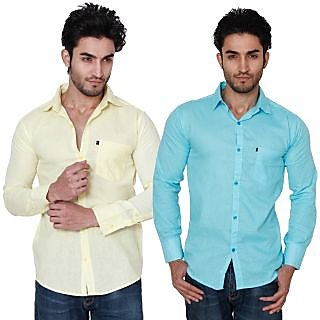 Nandini Men's Multicolor Slim Fit Casual Shirt(Combo of 2)