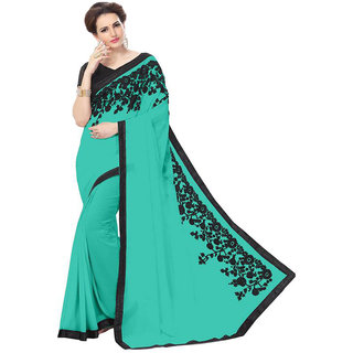 Tiana Creation Turquoise Georgette Embroidered Saree With Blouse