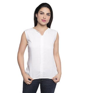 df7d20dbfc2917 Buy TuffStars White Solid Sleeveless Top Online   ₹549 from ShopClues