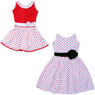 Flora self Design Cotton Dresses for Girls(combi)