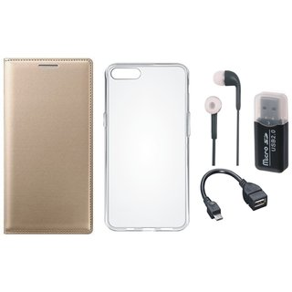Redmi 5A Leather Flip Cover with Kick Stand with Memory Card Reader, Silicon Back Cover, Earphones and OTG Cable