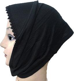Hijab BLACK LACE RHINSTONE CANVAS NINJA Under Scarf Ladies Abaya Head Hair Cover Women Tube Cap Burqa Stole Hosiery